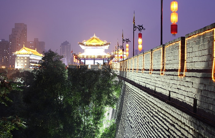Xi'an City Wall at Night