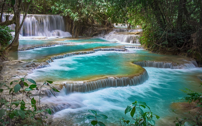 Kuang Si waterfall terasse, Luang Prabang Province, Laos