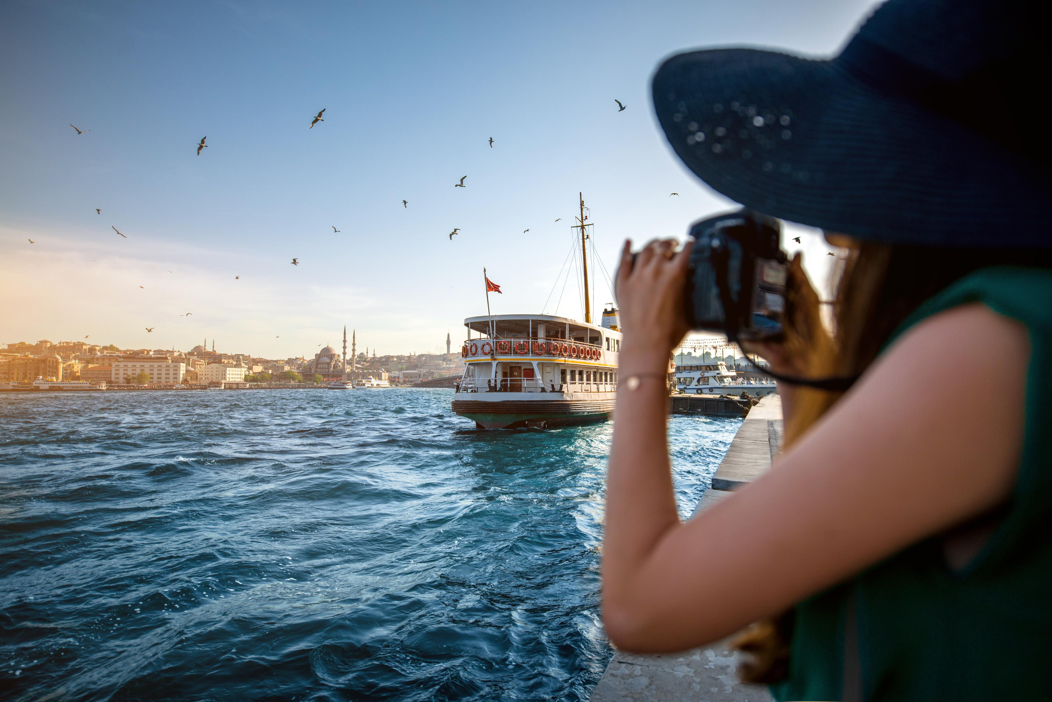 Woman traveler on the Bosphorus in Istanbul